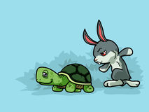Turtle and Rabbit. Vector illustration of turtle and rabbit are running in cartoon style Stock Photos