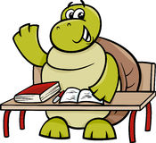Turtle raising hand cartoon illustration Royalty Free Stock Image