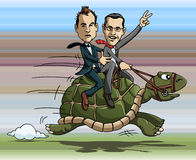 Turtle riding. Cartoon illustration: two businessmen riding a fast turtle Royalty Free Stock Images