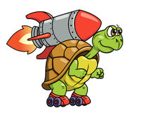 Turtle with rocket 2 Royalty Free Stock Photos