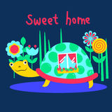 Turtle in it's home among flowers Stock Images