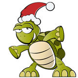 Turtle with Santa Claus hat. Cartoon illustration of funny green turtle with red Santa Claus hat, isolated on white background Royalty Free Stock Images