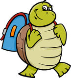 Turtle with satchel cartoon illustration Stock Photos