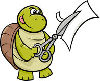 Turtle with scissors cartoon illustration Royalty Free Stock Image