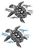 Turtle in sea water. In cartoon style for tattoo or environment design Royalty Free Stock Photos
