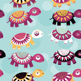 Turtle Seamless pattern with funny cute animal on a blue backgro Royalty Free Stock Photo