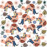 Turtle seamless pattern and seamless pattern in swatch menu, vec Stock Image