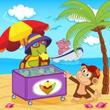 Turtle sells ice cream on beach Royalty Free Stock Photo