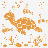 Turtle silhouette. Illustration silhouette cartoon cute and funny turtle and fish Stock Images