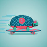 Turtle on a skateboard. Fast turtle. Turtle on a skateboard. Cartoon illustration Royalty Free Stock Images