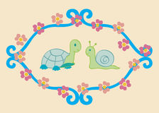 Turtle and snail. A turtle and a snail side by side with flowers flowing around and framed vector illustration