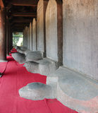 Turtle stone steles. Bearing the names of Doctoral laureates of the Temple of Literature between 1142 and 1778 in Vietnam at Van Mieu - Quoc Tu Giam (Temple of Stock Photos
