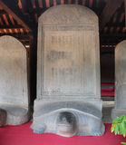 Turtle stone steles. Bearing the names of Doctoral laureates of the Temple of Literature between 1142 and 1778 in Vietnam at Van Mieu - Quoc Tu Giam (Temple of Stock Photography