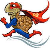 Turtle Superhero. The turtle in a suit of the superhero hurries to save the world stock illustration