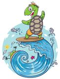 Turtle surfing in giant wave Royalty Free Stock Images
