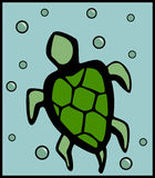 Turtle swimming with bubbles. Vector available. Illustration of a turtle swimming in a pond with bubbles in the background made with vectors. Additional vector Royalty Free Stock Photography