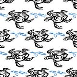 Turtle swimming in the sea seamless pattern. Turtle swimming in the sea seamless background pattern in square format suitable for nautical wallpaper of fabric Stock Photos