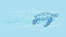 Turtle swimming under the sea. A decorative turtle swimming in the sea with bubble and water wave stock illustration