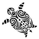 Turtle tattoo tribal stylised maori koru design royalty free stock image