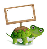 Turtle and text board Royalty Free Stock Image