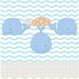 Turtle on three whales. Vector illustration of cosmologcal myth - world turtle on three whales in ocean. Divine animals of ancient folklore about earth creation Stock Photos
