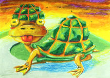 Turtle with tongue out painting. Background royalty free illustration