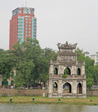 Turtle Tower in center of the Hoan Kiem lake Royalty Free Stock Image