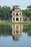 Turtle Tower on the Lake of the Returned sword closeup. The historical centre of Hanoi Royalty Free Stock Photography