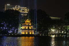 Turtle tower at night in Hanoi Stock Photography