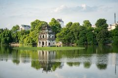 Turtle Tower Thap Rua in Hoan Kiem lake Sword lake, Ho Guom in Hanoi, Vietnam.  Royalty Free Stock Photo