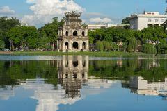 Turtle Tower Thap Rua in Hoan Kiem lake Sword lake, Ho Guom in Hanoi, Vietnam.  Stock Image