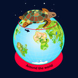 Turtle travels around the world. A travel around the world Royalty Free Stock Photos