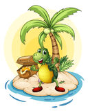 A turtle with a treasure at the back in a small island vector illustration