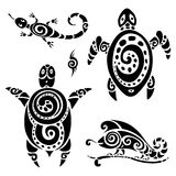 Turtle. Tribal tattoo set. Stock Photos