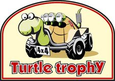 Turtle trophy. Funny label for off-road trophy Royalty Free Stock Photos