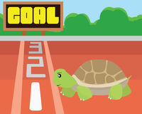Turtle try to reach the goal by itself.Success and intention Concept Stock Images