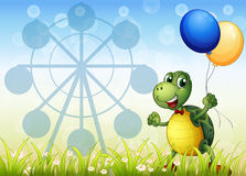 A turtle with two balloons at the carnival stock illustration