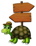 A turtle under an empty arrowboard Stock Photo