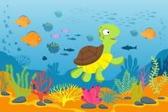Turtle in underwater scene. Tortoise, seaweeds and fishes in ocean bottom. Cartoon marine vector background. Illustration of turtle under water ocean, marine vector illustration