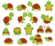 Turtle vector cartoon seaturtle character swimming in sea and playing tortoise in tortoise-shell illustration set of stock illustration