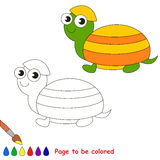 Turtle in vector cartoon to be colored. Royalty Free Stock Photography