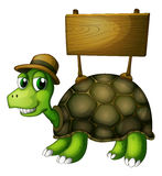 A turtle with a wooden signboard at the back Stock Image
