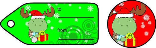 Turtle xmas baby cartoon giftcard Stock Photo