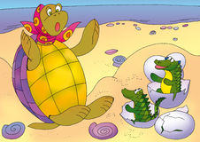 Turtle3. Turtle dug up eggs and surprised to posterity Royalty Free Stock Photos