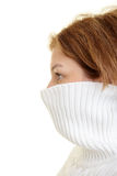 Turtleneck in her face Royalty Free Stock Images