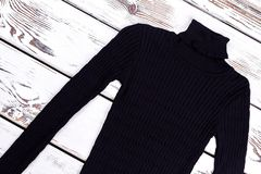 Turtleneck striped black sweater. Royalty Free Stock Photography