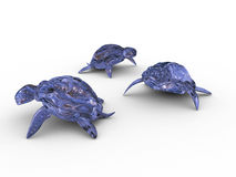 Turtles 3d. Models of glass turtles on a white background Stock Photography