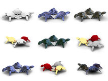 Turtles 3d models. Models turtles on a white background Stock Photography