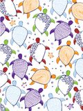 Turtles drawings. Colorful background with turtles drawings royalty free illustration