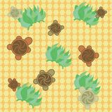 Turtles pattern - green and yellow. Turtles seamless pattern - green and yellow Royalty Free Stock Image